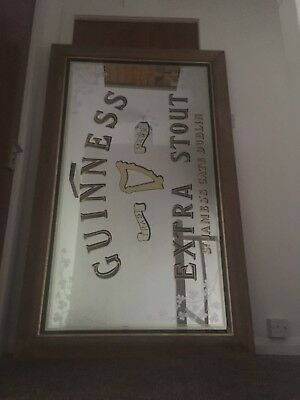 Rare Guinness Bar Mirror - Oak Frame