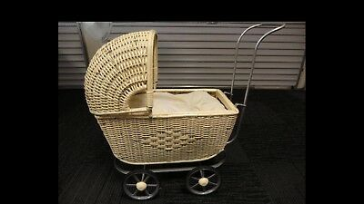 Antique Victorian Edwardian Wicker Childrens Childs Baby Pram