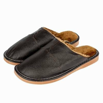 Winter Home Slippers Men Cow Leather Close Toe Lining Fur Slip On Flats Bedroom