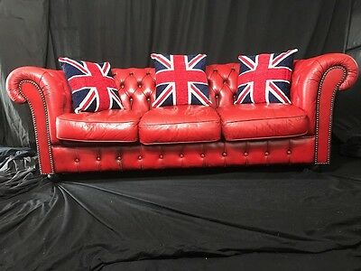 Classic Handmade Leather Chesterfield Style Oxblood Red 3 Seater Sofa Settee