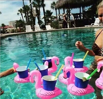 3X FLAMINGO Beverage Boat Inflatable Cup Drink Can Holder Pool Float -BigMouth