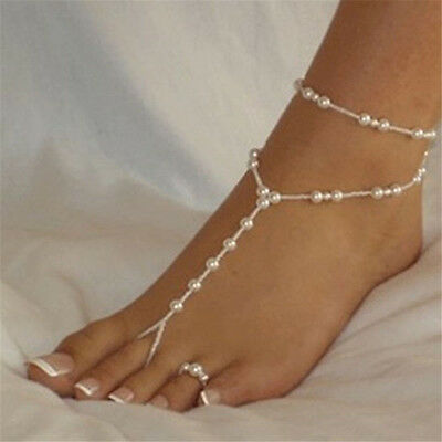 White Pearl Barefoot Sandal Anklet Foot Chain & FREE toe ring Wedding Bride (464