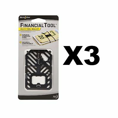 Nite Ize Financial Tool Black Credit Card Size 7-in-1 Multi Tool (3-Pack)