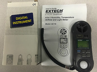 Extech 45170 Hygro-Thermo-Anemometer Light Meter, 80 to 5910 fpm, LCD Used