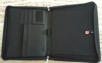 "NEW LEED'S Leather Zippered Padfolio Organizer ""workday"" Web Services Logo Black"