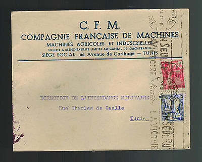 1944 Tunis Tunisia Cover to Local Use French Machine Company Commercial