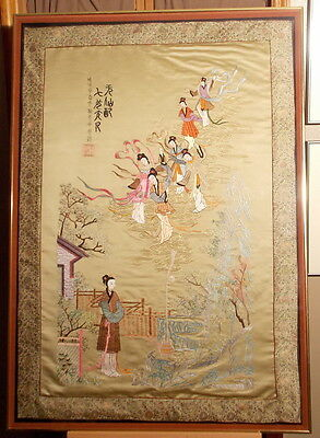 Large Fine Chinese Antique Embroidery Embroidered Silk People Panel Picture
