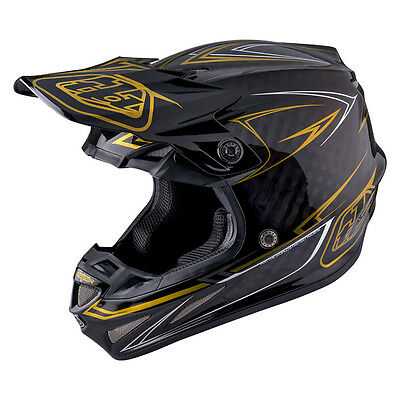 Troy Lee Designs SE4 Pinstripe Carbon Moto Helmet Black/Gold