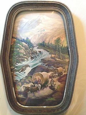 Vintage Western W.A. Carson Print Wagon Train Going West in Bubble Glass Frame