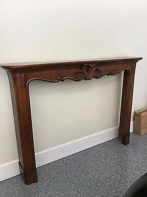 Antique wood European style  hand carved  fireplace mantle from Italy wax finish