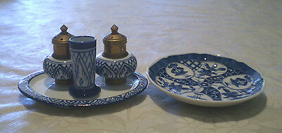Unused 4 Piece Ceramic Blue & White Incense Holder/burner Set Plus Trinket Dish