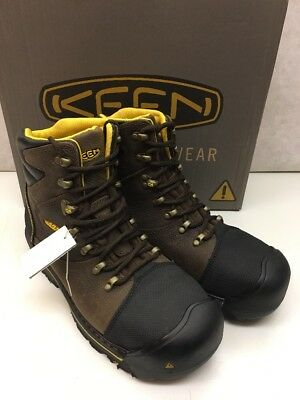 KEEN BOOTS MILWAUKEE BROWN LEATHER STEEL TOE WORK BOOTWATER RESISTANTMedium Wdth