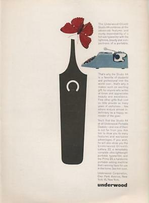 1963 Underwood Olivetti PRINT AD features: Simple Butterfly Cute Vintage Art