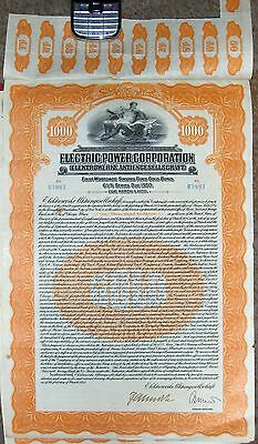 GERMAN Electric Power Corporation Gold BOND, 1925  $1000 Germany