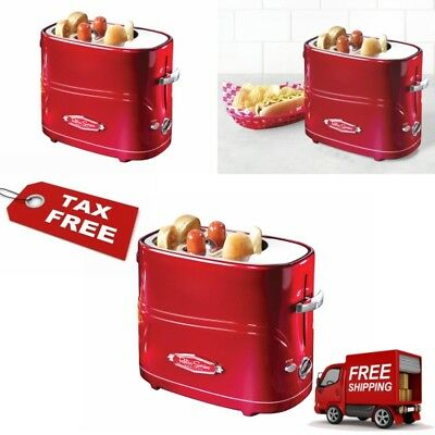 Retro Series Pop-Up Hot Dog Toaster Cooker Elite Electrics Machine Roller Red