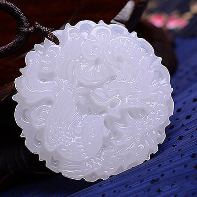 New White Chinese Jade Natural Hand-carved Pendant Dragon&Phoenix