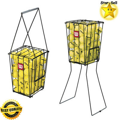 Portable Tennis Ball Basket Pick Up Hopper Steel Cage Holds 75 Balls Training