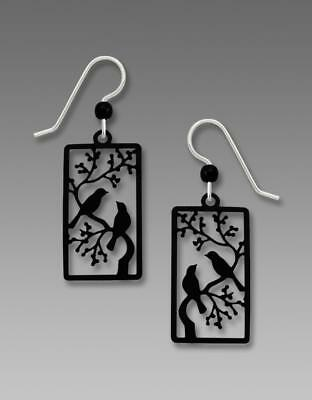Sienna Sky Earrings Sterling Hook Two Black Birds on a Branch Handmade in USA