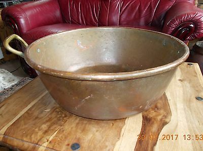 """Large Antique French Copper Roll top Basin 1 brass Handle 16"""" Dia 6"""" Deep 3.2 kg"""