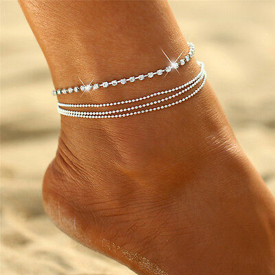 Silver Multi-Layer Crystal Ankle Bracelet Anklet Beaded Chain Foot Jewelry AL4