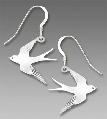 Sienna Sky Earrings Sterling Hook Shiny Silver Flying Swallow Bird Handmade 1886
