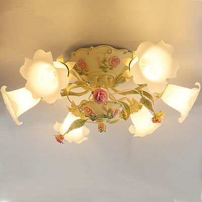 French Country Rose 6 Lights Chandelier/Hanging lamp/Ceiling Lamp Iron +Glass