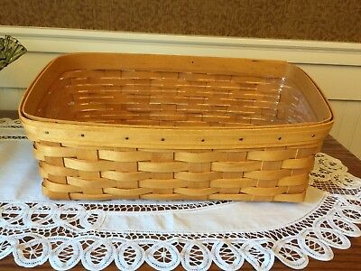 Longaberger 2001 Large Vanity Basket w/ Protective Liner NEVER USED NM/M