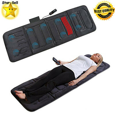 Portable Heated Massage Mat Vibrating Bed Pad Back Body Massager Remote Control