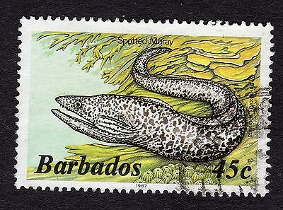 1987 Barbados 45c Spotted moray FINE USED R31767