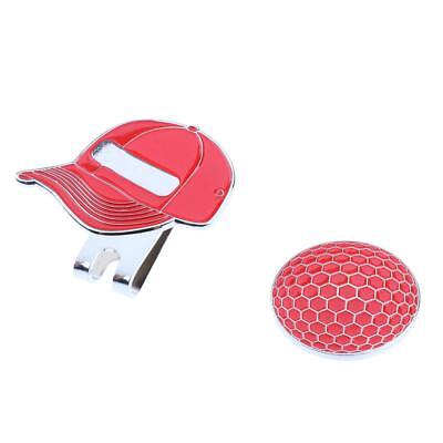 New Golf Ball Marker with Magnetic Golf Hat Clip Funny Cap Pattern - Red