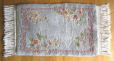 "Vintage Chinese Plush Rug~Flowers~Gun Tufted~Tianjin, China~Gray~1' 5"" X 2' 3"""