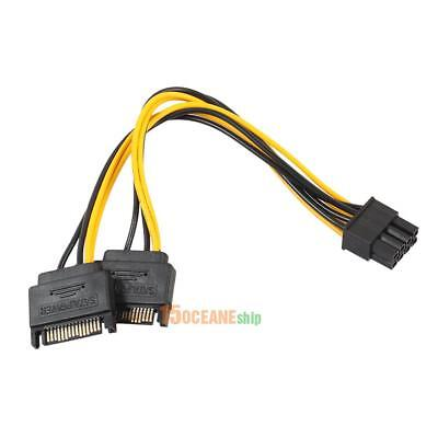 Dual 15Pin SATA Male To PCIe 8Pin(6+2) Male Power Splitter Cable for Video Card