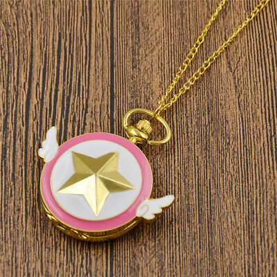 Anime Kinomoto Sweet Pocket Watch Sakura Card Captor Necklace Golden Chain Gift