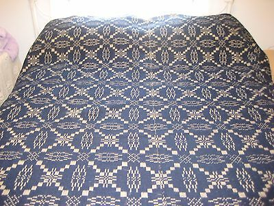 1800'S Antique Wool Hand Woven Coverlet Blue Natural 83in X 91in FRINGE