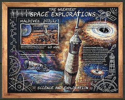 Maldives 2017 Greatest Space Explorations Hubble, Apollo 11. Mars Roover Mint Nh