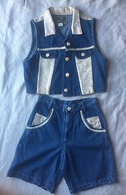 Miss & MRS. Vintage Totally 80's-90's Party Outfit 2pc Short Vest Denim Jean