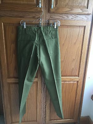 "LEVI'S STA-PREST ""BIG E"" men's 30 X 27.5 olive jeans pants USA VTG 1960s NOS NEW"