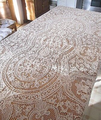 Antique Italian Point Venise Needle Lace Tablecloth Floral