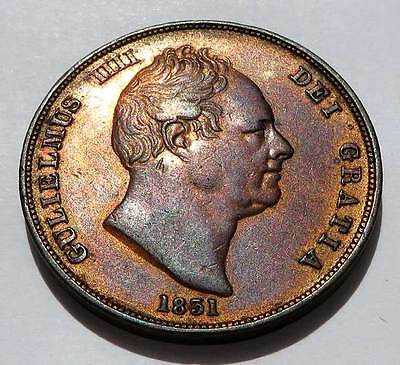 High Grade 1831 Great Britain Large Penny Au Unc Gulielmus Iiii William Iv Km707