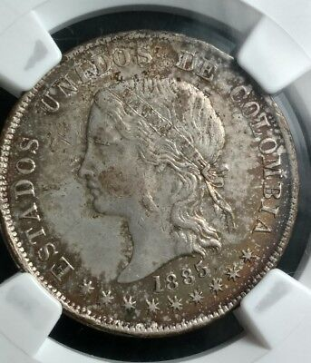 """Nice find! 1885 Colombia NGC AU55 """"0.835"""" variety 50 Centavos Bogota Silver Coin"""