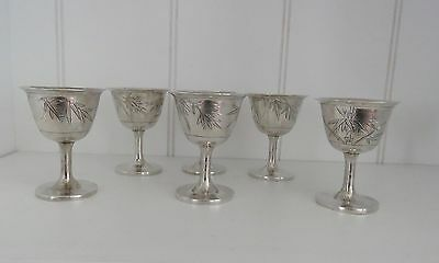 Wonderful  Antique Set of  6   Chinese Export  Silver Cordials  signed HYL