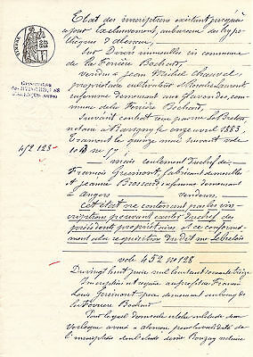 1883 Antique Vintage French Document with Ink Tax Stamp Nice Handwriting