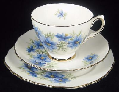 Colclough Blue Flowers/Yellow Centre Bone China Cup/Saucer/Plate Trio #7878