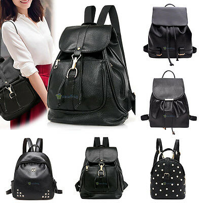 Claasic Women PU Leather Mini Preppy Chic Backpack Casual School Travel Bag Blac
