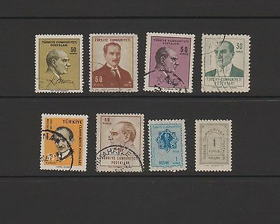 Turkey - 8 used stamps  ( Lot 43 )
