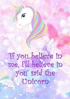 3 for 2 posters Unicorn 'Believe in me' kids bedroom wall art A4 Poster print