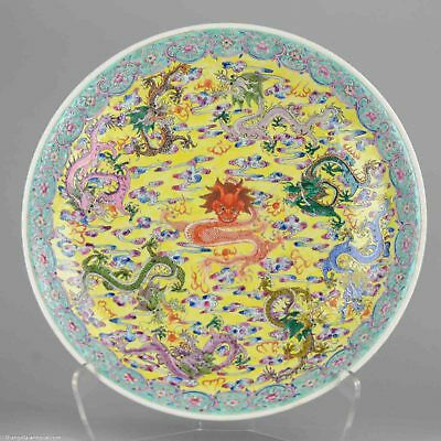 LARGE! 40.5CM PROC 1950-60 Chinese Porcelain Charger Dragons Marked