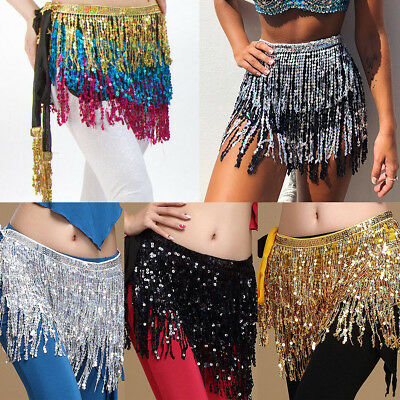 Belly Dance Belt Hip Scarf Waist Skirt Wrap Tassel Fringe Sequin Dancing Costume