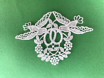 Wedding - Birds & Rings - sew-on lace motif/applique/patch/craft/card making