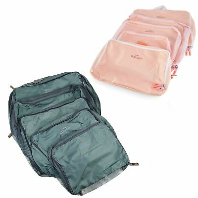 5 Pc Storage Bag Packing Cube Travel Luggage Organizer Pink Grey